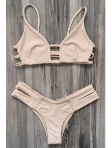 Caged Bandage Bikini Swimwear - Yellowish Pink