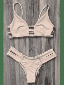 Caged Bandage Bikini Swimwear - Yellowish Pink M