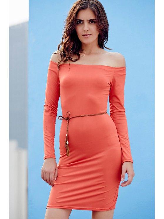 Off The Shoulder Sheath Long Sleeve Dress - JACINTH XL Mobile