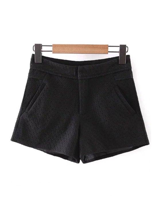 Sólido del cordón de los bolsillos de color Pantalones cortos - Negro M