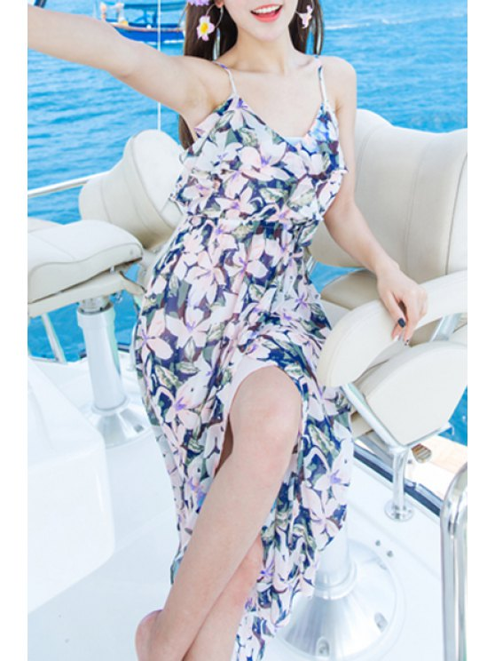 chic Bohemian Floral Print Spaghetti Straps Sleeveless Dress - PINK L