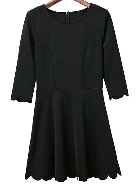 Color sólido cuello redondo manga 3/4 Una línea vestido - Negro L
