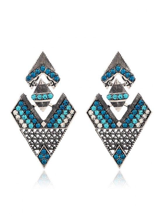 Los pendientes pendientes de diamantes de imitación triángulo invertido - Verde