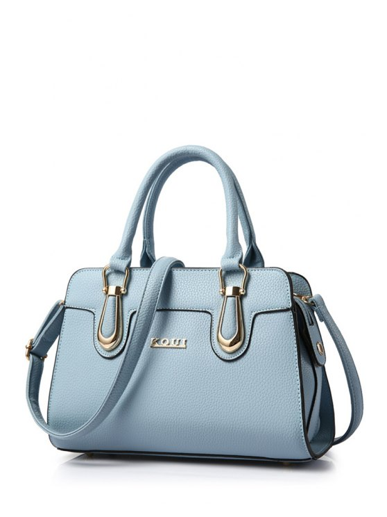 Metal Letter Solid Colour Tote Bag - BLUE  Mobile