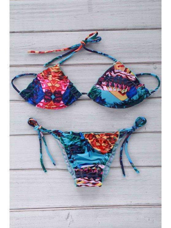 Tiny Floral Print Halter Bikini Set - BLUE L Mobile