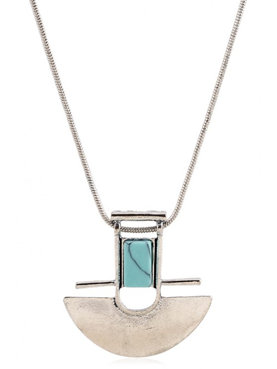 Arch Shape Pendant Necklace - SILVER  Mobile