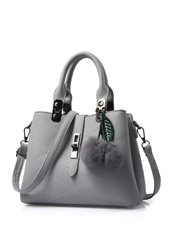 lady Pompon Checked PU Leather Tote Bag - GRAY