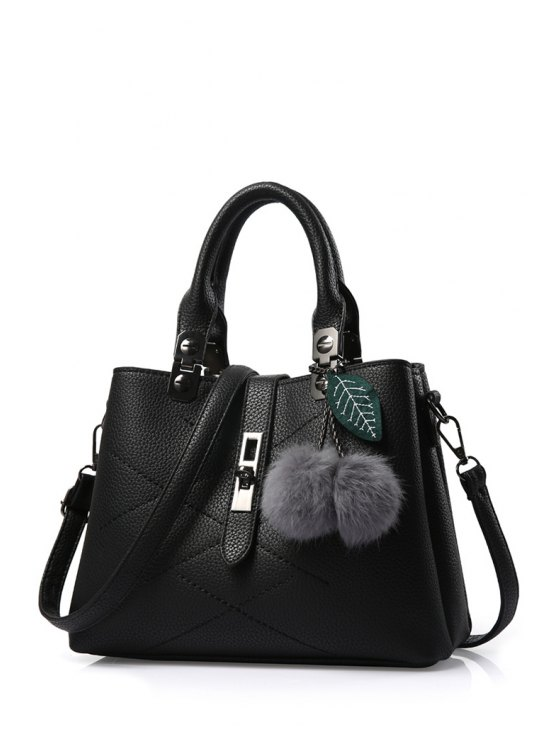 Pompon Checked PU Leather Tote Bag - BLACK  Mobile