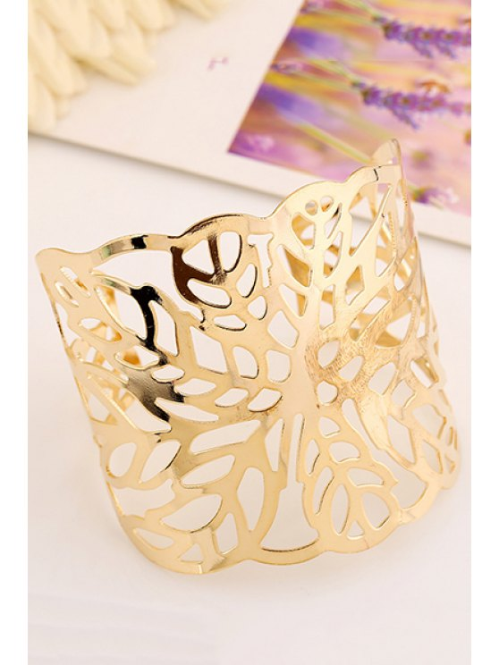 Hollow Out Leaf Cuff Bracelets - GOLDEN  Mobile