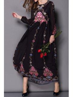 Flowy Floral Formal Dress - Black S