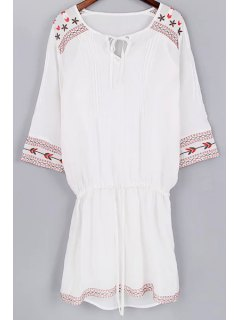Cami Tank Top And Drawstring Embroidery Dress Twinset - White S