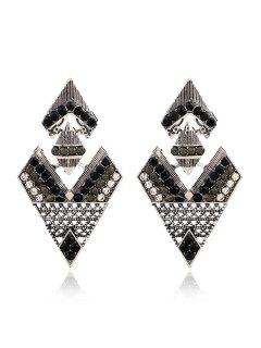 Rhinestone Inverted Triangle Pendant Earrings - Black