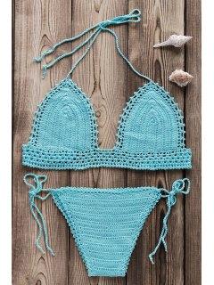Crocheted Spaghetti Straps Bikini Set - Light Blue