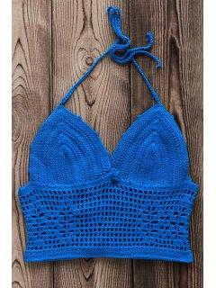 Crochet Hollow Out Halter Bikini Top - Blue