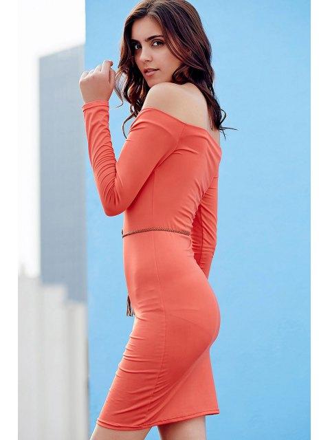 trendy Off The Shoulder Sheath Long Sleeve Dress - JACINTH XL Mobile