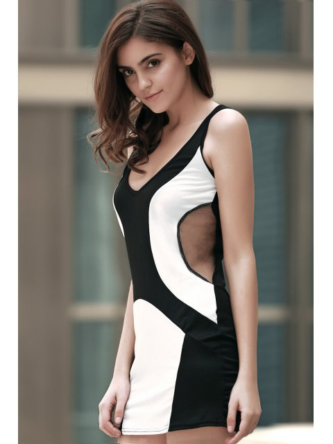 ladies Color Block Plunging Neck Voile Spliced Mini Dress - BLACK L Mobile