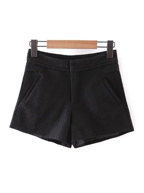 women's Lace Solid Color Pockets Shorts - BLACK M Mobile