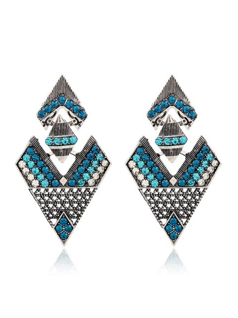 new Rhinestone Inverted Triangle Pendant Earrings - GREEN  Mobile