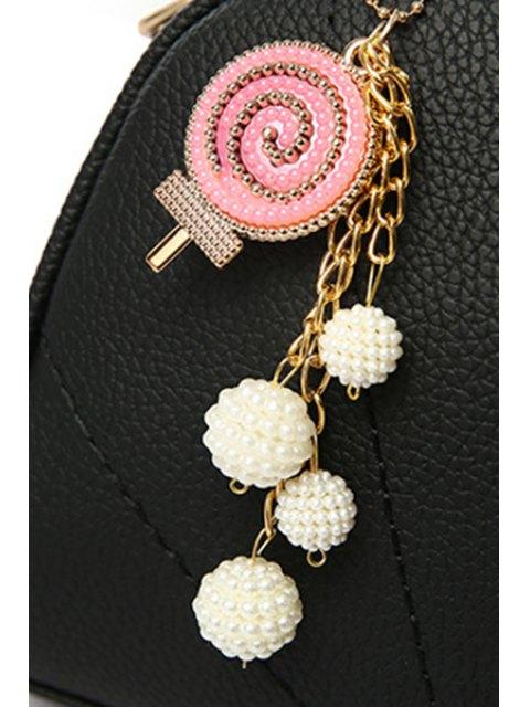 Sac à main couleur de bonbon avec pendentif et coutures - Gris  Mobile