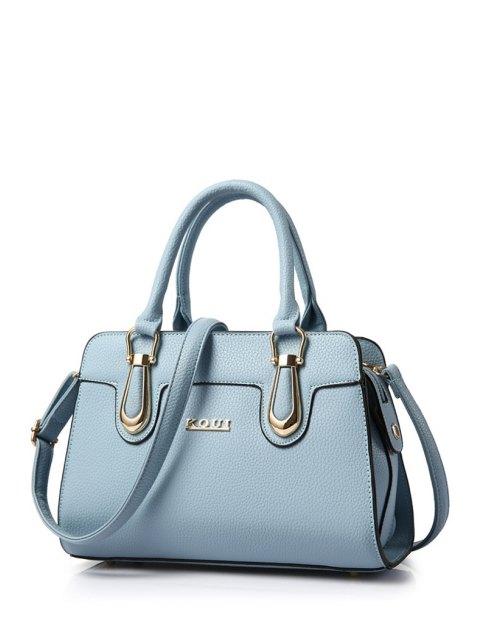 hot Metal Letter Solid Colour Tote Bag - BLUE  Mobile