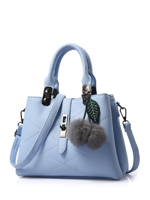 ladies Pompon Checked PU Leather Tote Bag - LIGHT BLUE  Mobile