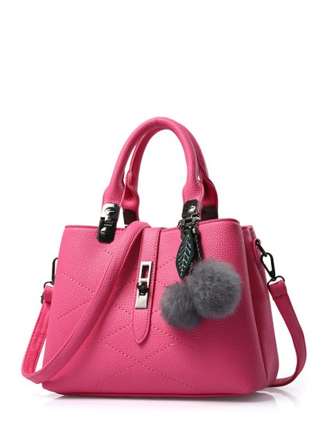 women's Pompon Checked PU Leather Tote Bag - ROSE  Mobile