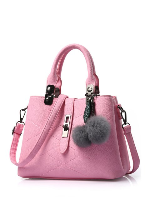 women Pompon Checked PU Leather Tote Bag - PINK  Mobile