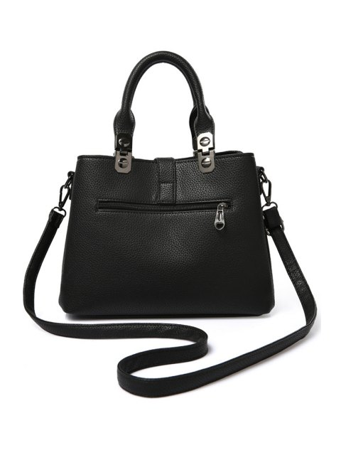 womens Pompon Checked PU Leather Tote Bag - BLACK  Mobile