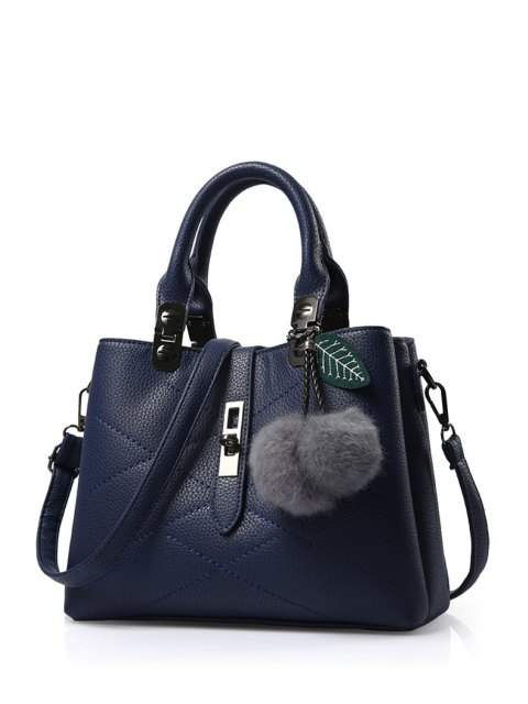 buy Pompon Checked PU Leather Tote Bag - DEEP BLUE  Mobile