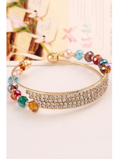 trendy Rhinestone Faux Crystal Cuff Bracelets - GOLDEN  Mobile