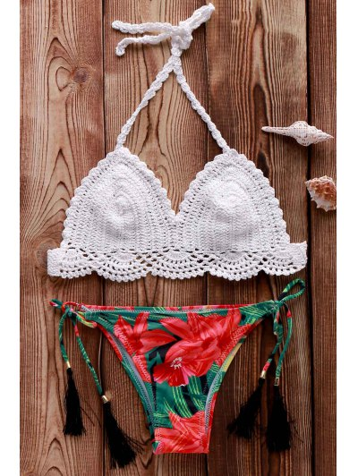 Crocheted Halter Printed Bikini Set - White