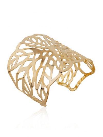 Hollow Out Leaf Cuff Bracelets - GOLDEN  Mobile