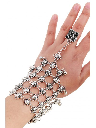 Bead Hollow Plaid Bracelet and Ring - SILVER  Mobile
