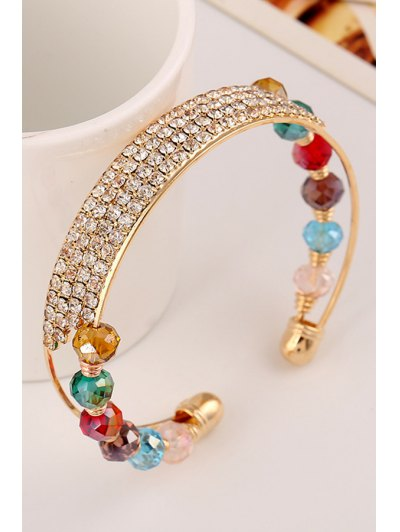 Rhinestone Faux Crystal Cuff Bracelets - GOLDEN  Mobile