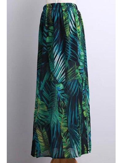Side Slit Bohemian Tropical Leaf Print Skirt - Green