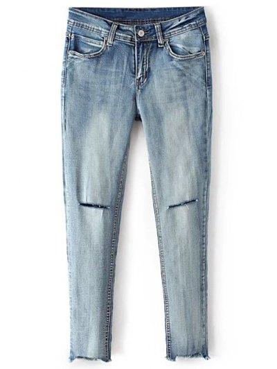 Broken Hole Cropped Skinny Jeans - Blue