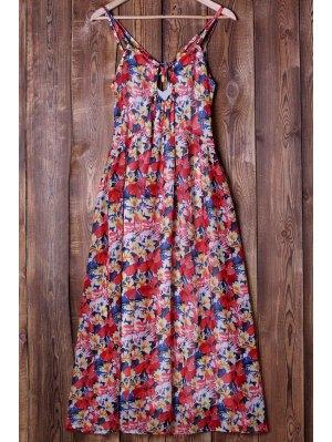 Full Flower Print Spaghetti Strap Maxi Dress