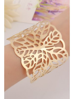 Hollow Out Leaf Cuff Bracelets - Golden