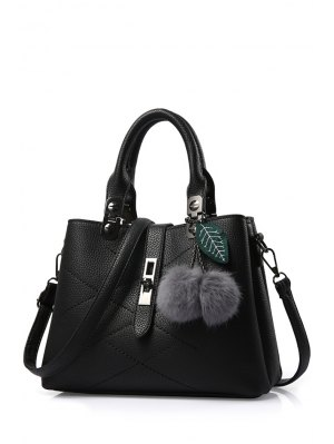 Pompon Checked PU Leather Tote Bag - Black
