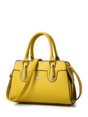 Metal Letter Solid Colour Tote Bag - Yellow