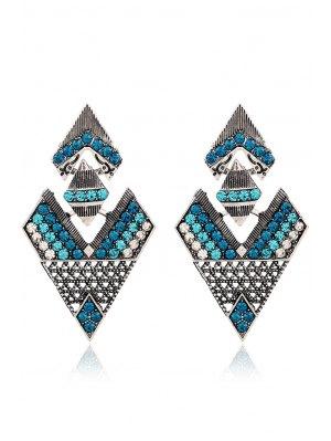 Rhinestone Inverted Triangle Pendant Earrings - Green