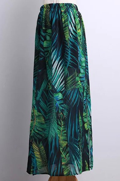 Bohemian Tropical Leaf Print Side Slit Skirt
