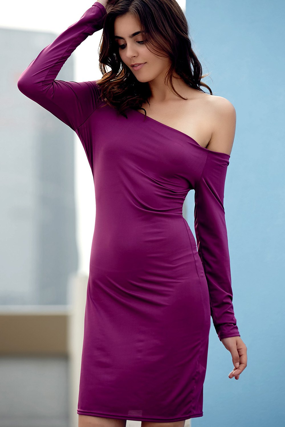 Off The Shoulder Long Sleeve Solid Color Bodycon Dress