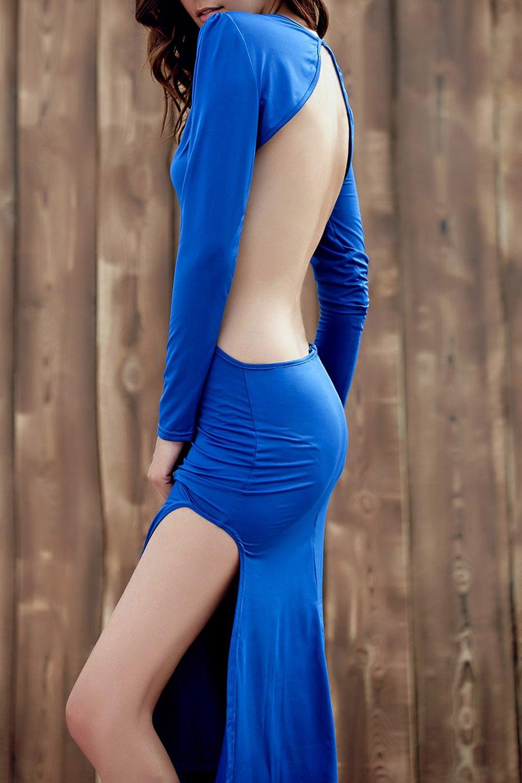 Backless Round Collar Long Sleeve Side Slit Maxi Dress