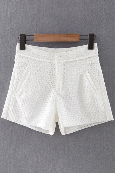 Solid Color Pockets Lace Shorts
