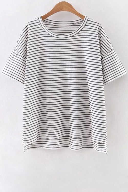 Round Neck Half Sleeve Striped High Low Hem T-Shirt