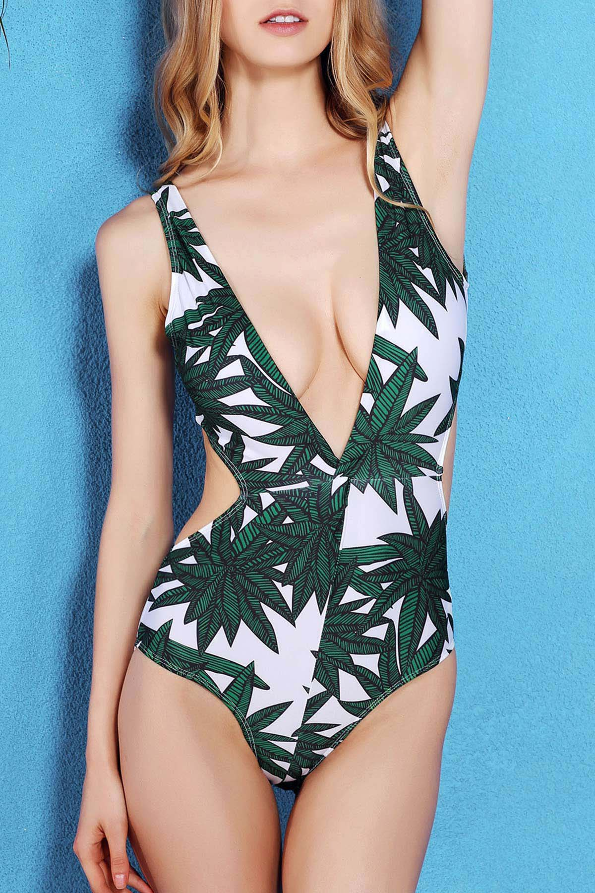 Plunging Neck Sleeveless Bamboo Leaf Print One-Piece Swimwear