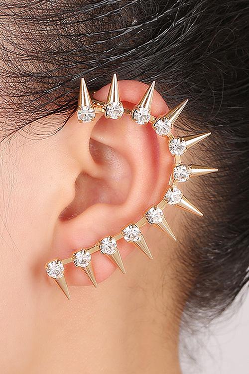 Rhinestones Sharp Teeth Clip Earring For Women