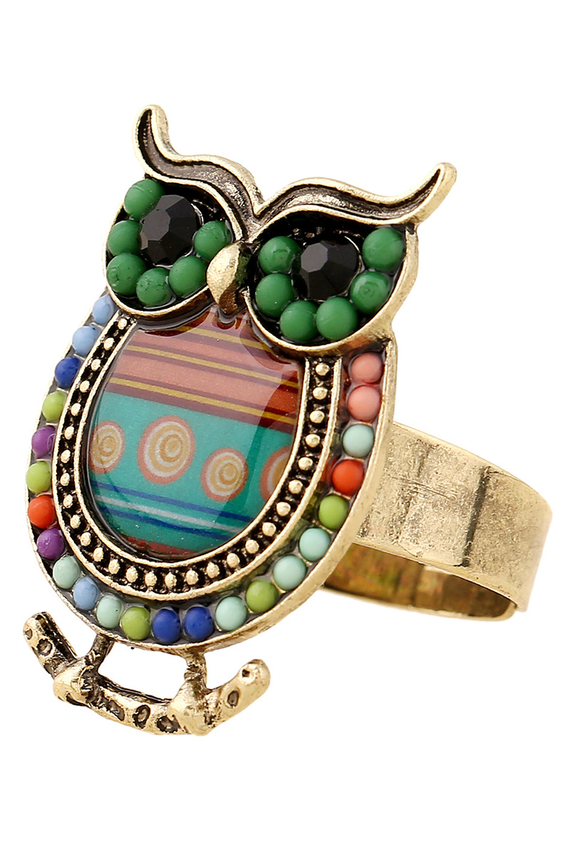 Bead Owl Shape Ring