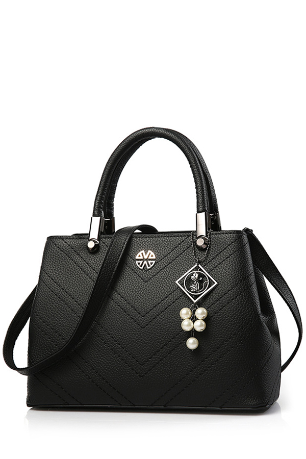 Pendant Stitching PU Leather Tote BagAccessories<br><br><br>Color: BLACK